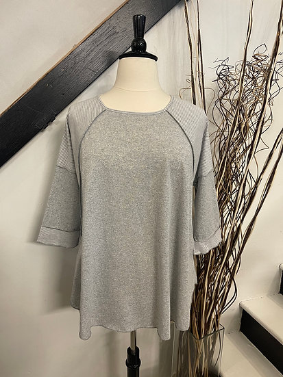 Gray Top with Stripe Sleeve
