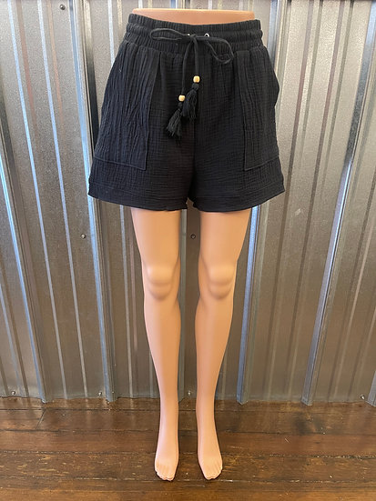 Charcoal Gauze Shorts with Elastic Waist and Drawstring