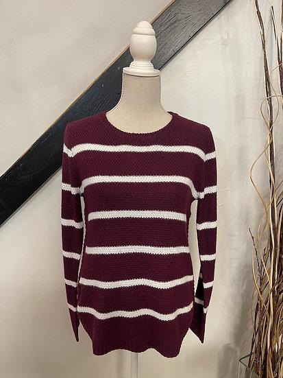 Plum/ Ivory Crew Neck Sweater