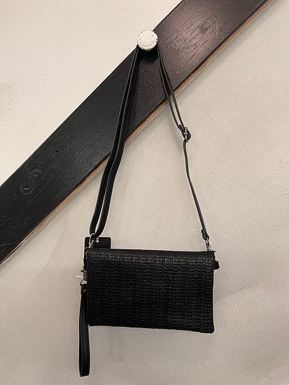 Black Kate Woven Crossbody Clutch