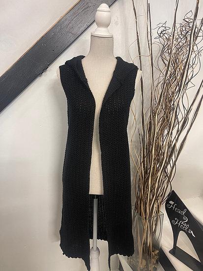 Black Hooded Vest Cardigan