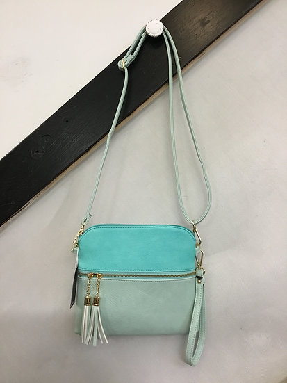2-Tone Turquoise Crossbody Purse