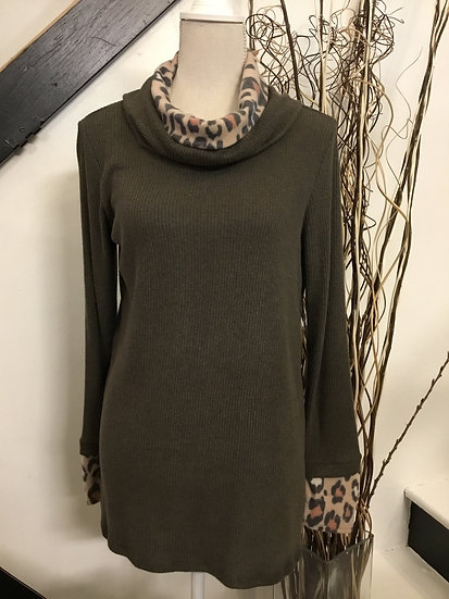 Olive Green Sweater with Animal Print