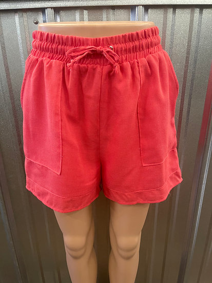 Red Drawstring Elastic Waist Shorts (Fully Lined)