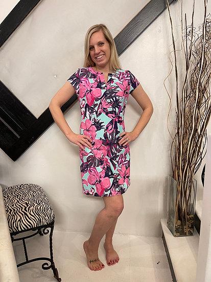Mint Floral Cap Sleeve Dress