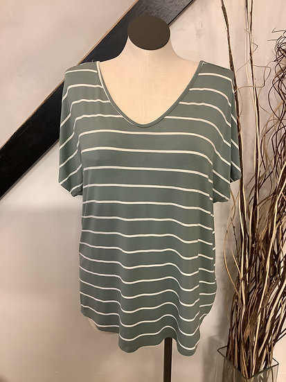 Green/white Stripe with Lace Insert in Back