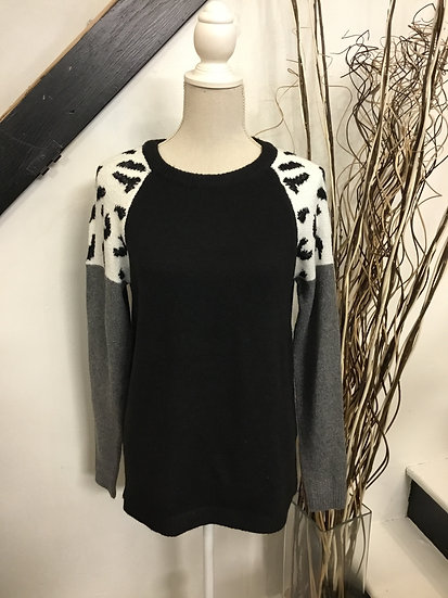 Black, Charcoal, Animal Print Sweater