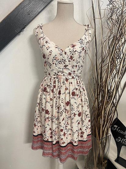 Floral Print Tied Shoulder Strap Dress