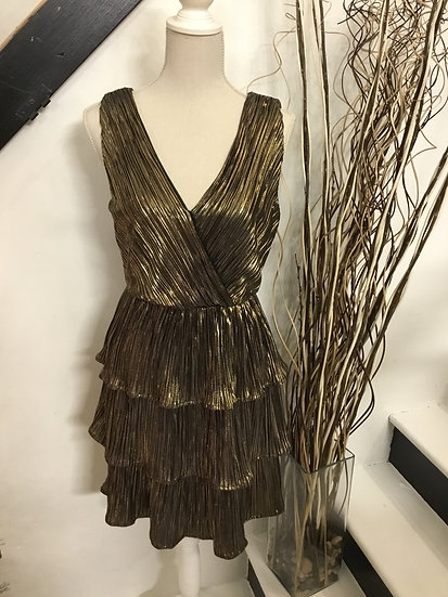 Sleeveless Pleated Lurex Woven Dress with Tiered Skirt