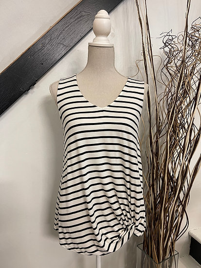 V-Neck Off White Striped Tank with Knot Detail