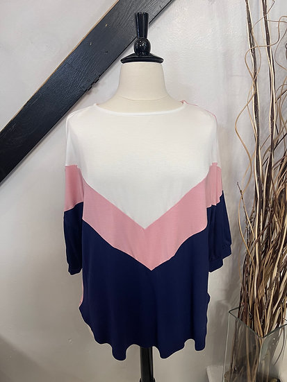Pink Color Block Jersey Casual Tunic 3/4 Sleeve Top