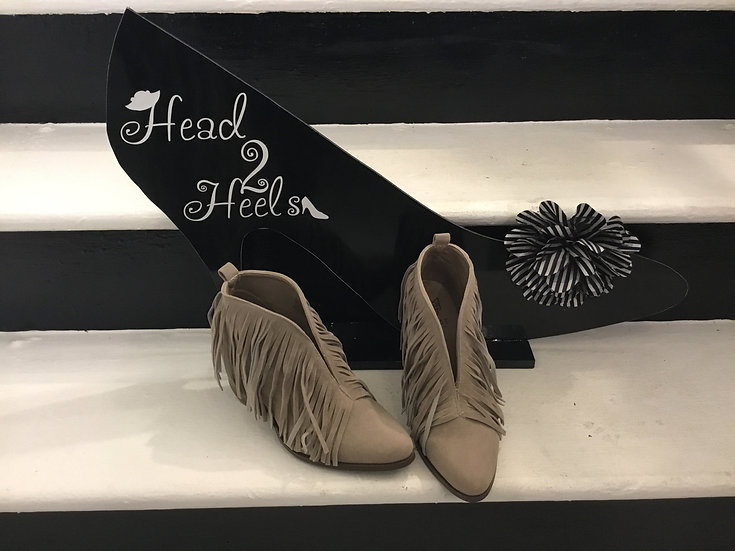 Grey V Cut Fringed Ankle Bootie