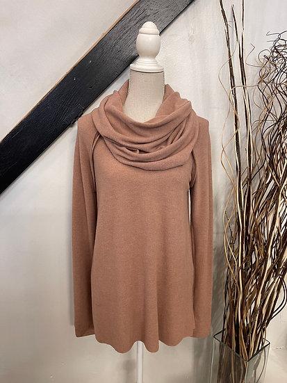 Camel Brushed Knit Cowl Neck Top