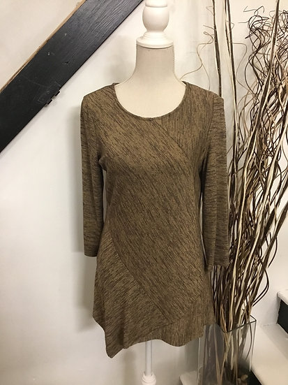 Brown 3/4 Sleeve Space Dyed Scoop Neck Tunic