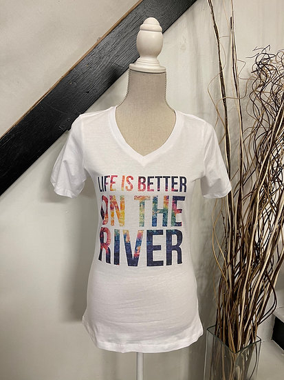 Life is Better on the River V-neck Tee