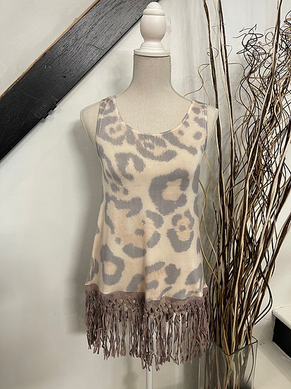 Leopard Tank with Fringe Layer
