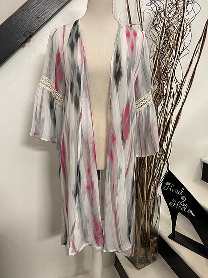 Summer Nights Aztec Kimono with Lace Detail