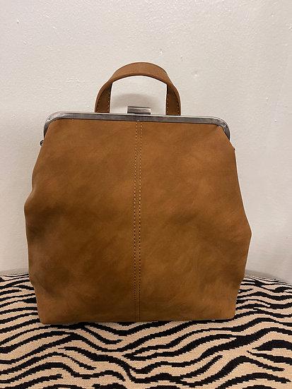 Camel Nubuck Frame Convertible Backpack