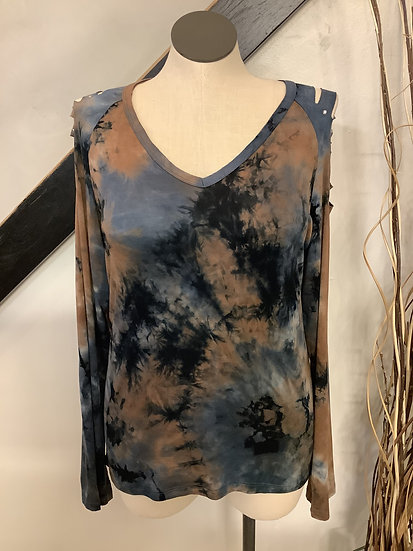 Camel/Navy Tie Dye with Laser Cut Shoulder and Stones
