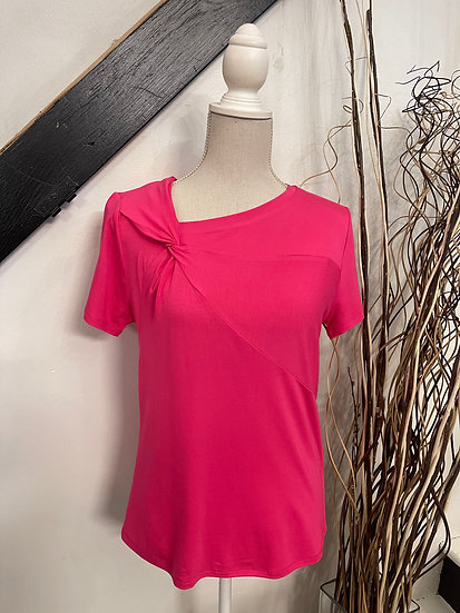 Fuchsia S/S Tee with Knot at Neck Detail