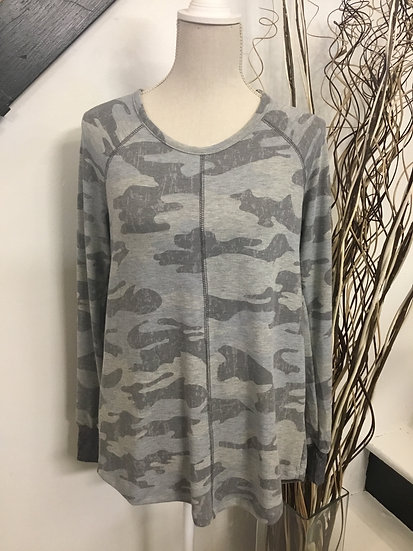 Army Print Top with Center Seam & Round Neck