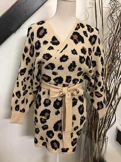 Leopard Dolman Sleeve Sweater Dress