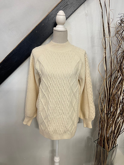 Cream Balloon Sleeve Mock Neck Cable Knit Sweater Tunic Top
