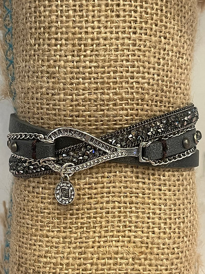 """""""Thankful Blessed"""" charcoal Bracelet"""