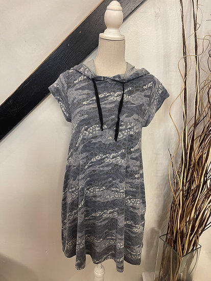 Blue Camo Animal Print Cap Sleeve Dress