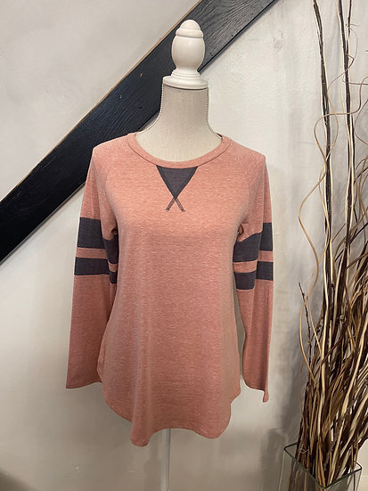 Rust Triblend Colorblock Knit Top