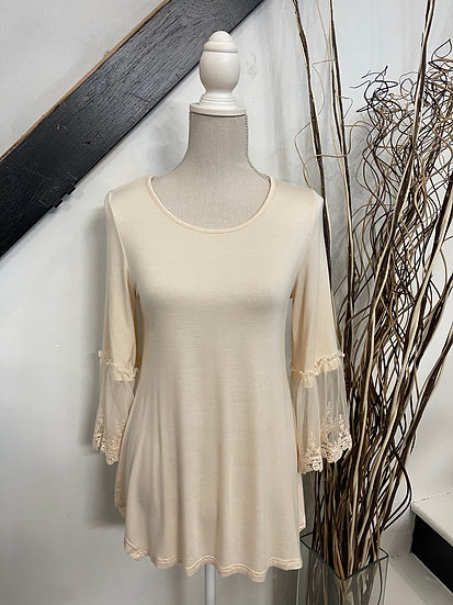 Beige Top with Lace Trimming on Sleeves