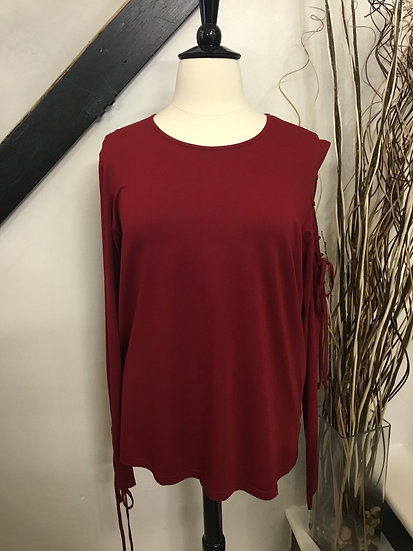 Red Long Sleeve with Lace Up Detail