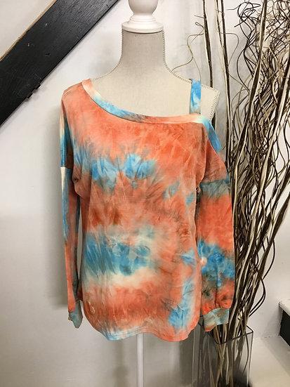 Blue/Orange Cold Shoulder Tie Dye