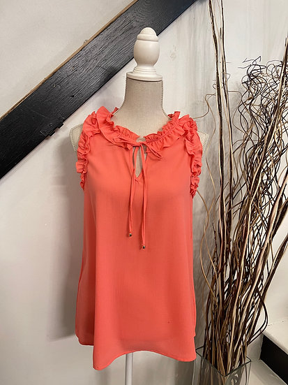 Coral Sleeveless Ruffle Blouse