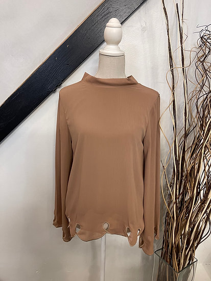 Taupe Scalloped Edge Tie Back Blouse