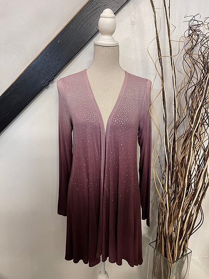 Burgundy Special Dye LS Cardigan with Stones