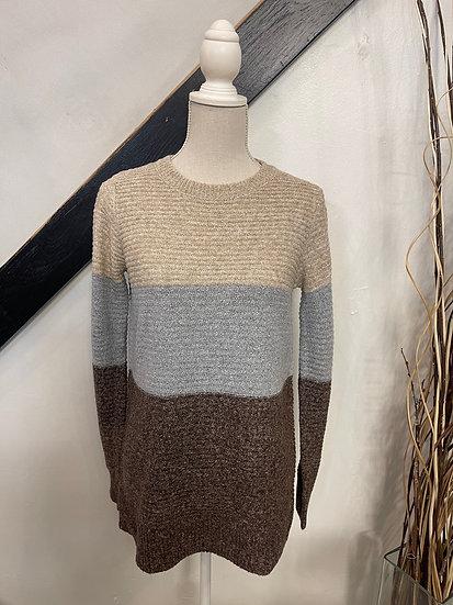 Oatmeal/ Brown Colorblock Sweater