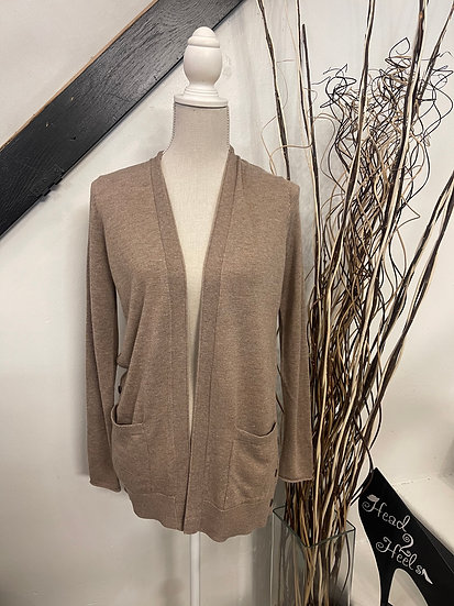 Mocha Cardigan with Buttons and Pockets