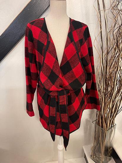 Red/Black Tie Waist Jacket