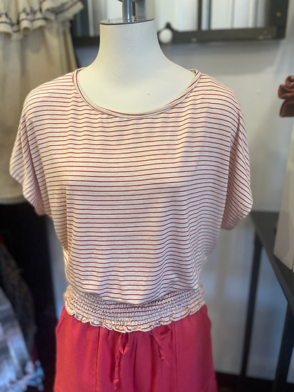 Red & Oatmeal Smocked Bottom Stripe Top