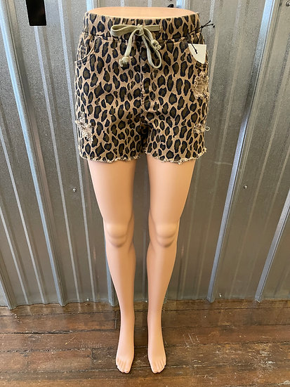 Hi Rise Fray Hem Destructed Cheetah Jogger Shorts