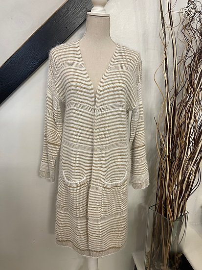 Taupe Two Toned Open Knit Sweater Cardigan