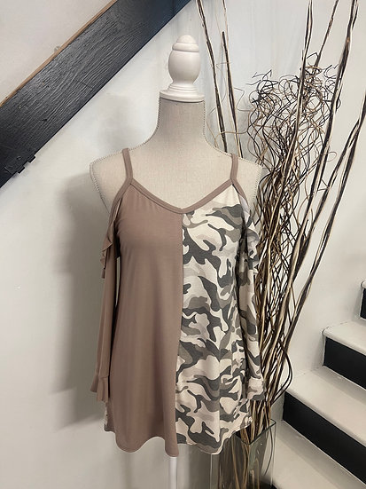 Camo Print & Taupe Contrast Cold Shoulder Ruffle Sleeve Top