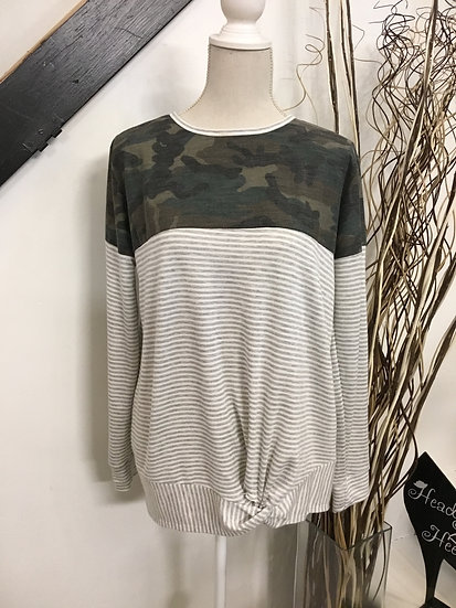 Camo/ Stripe Long Sleeve with Front Knot