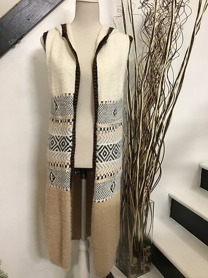 Taupe Color Block Multi Print Sleeveless Long Vest with Hood and Side Slit