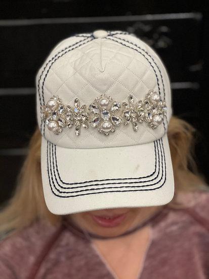 White Hat with Navy Stitching