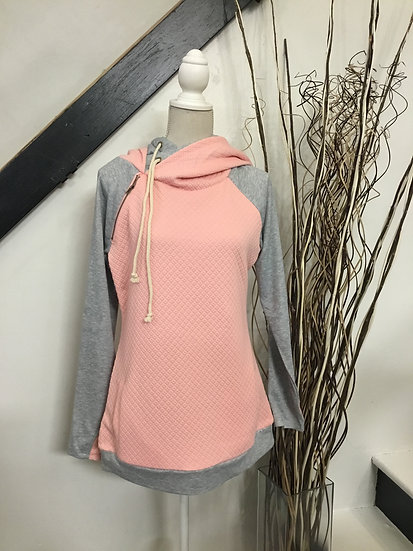 Pink Quilted Double Hoodie