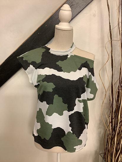 Olive/ Black Camo Off Shoulder S/S Top