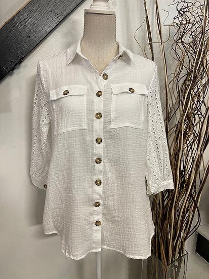Off White Cotton Eyelet Sleeve Detailed Button Down Shirt