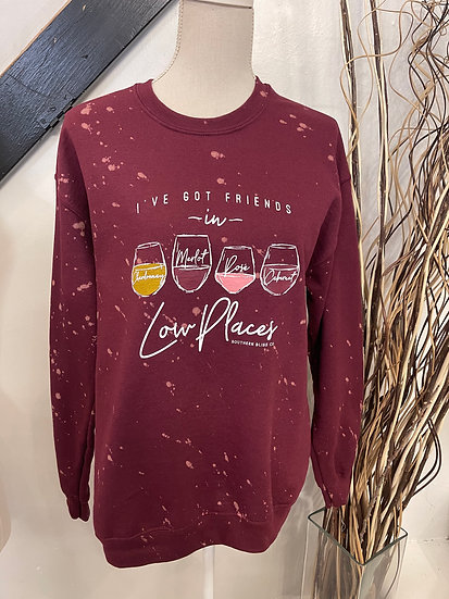 Low Places Wine Bleached Sweatshirt